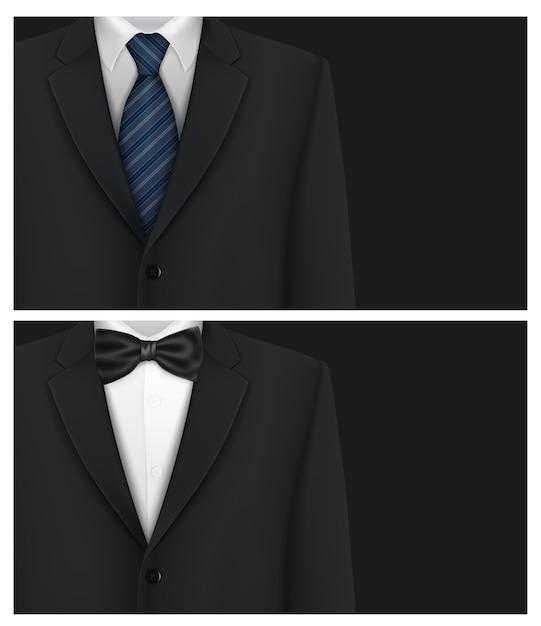 Suit background with bow tie Premium Vector
