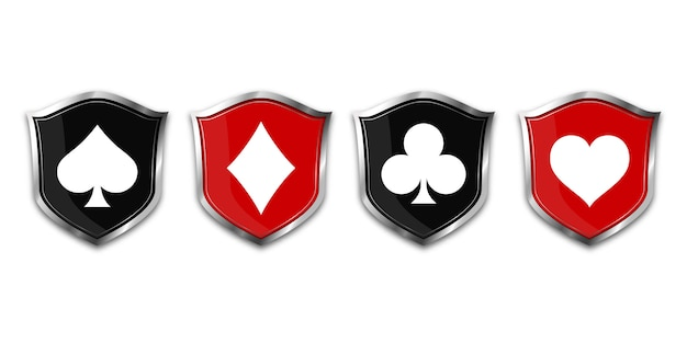 Suit deck of cards on shield. Premium Vector