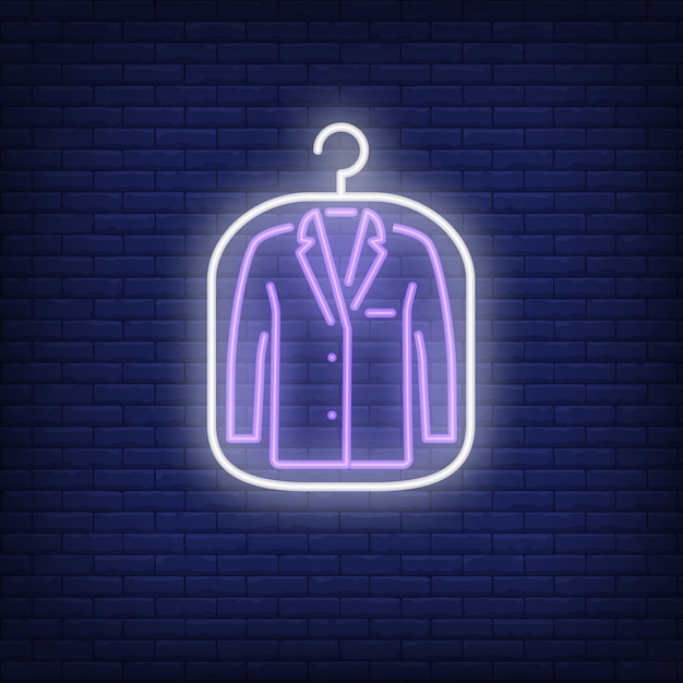 Suit jacket in cover neon sign Free Vector