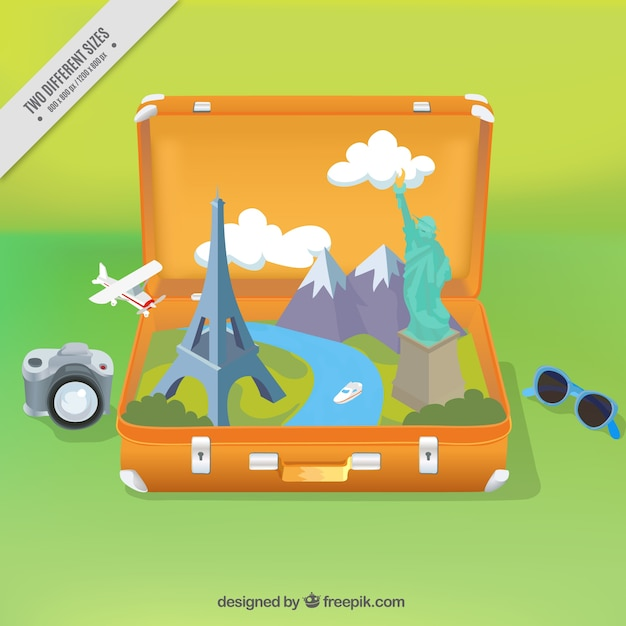 Suitcase background with monuments and travel items Free Vector