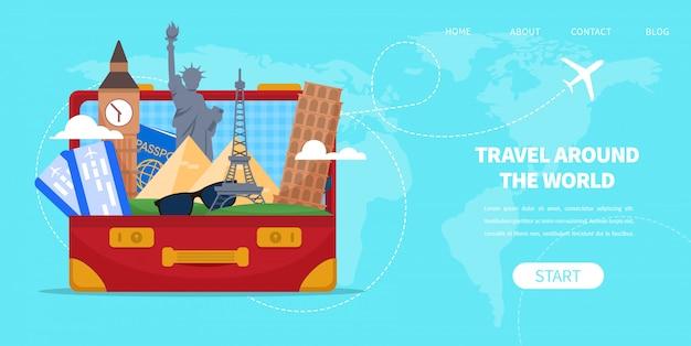Suitcase bag with cartoon famous landmarks vector Premium Vector