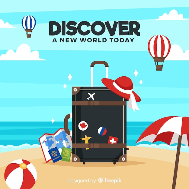 Suitcase on the beach background Free Vector