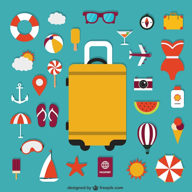 Suitcase and summer icons Free Vector