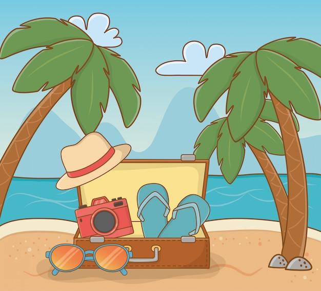 Suitcase travel on the beach Premium Vector