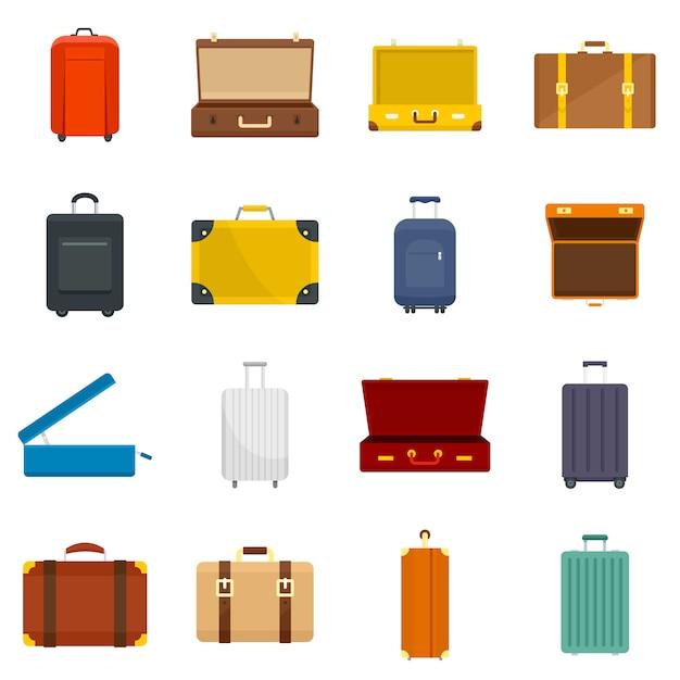 Suitcase travel luggage bag icons set Premium Vector