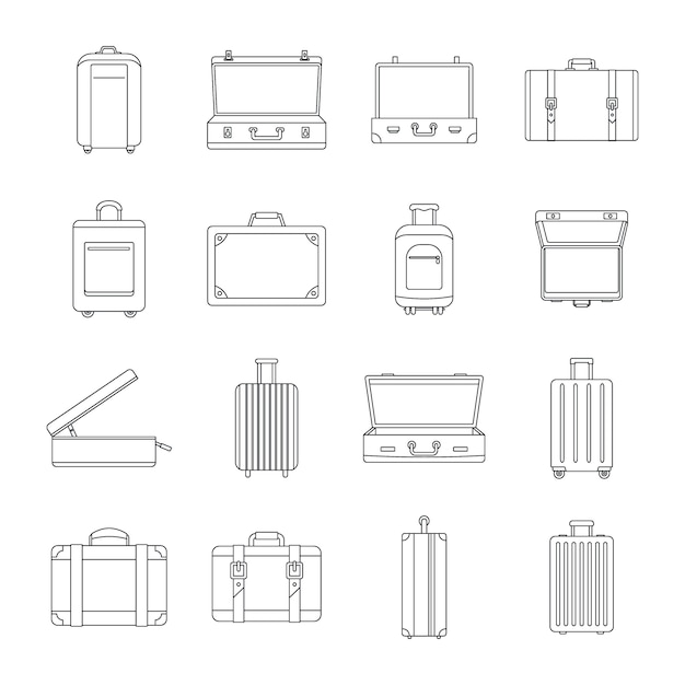 Suitcase travel luggage icons set Premium Vector