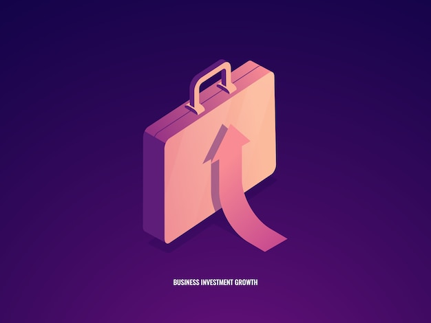 Suitcase with arrow up, career growth, business management and investment success Free Vector