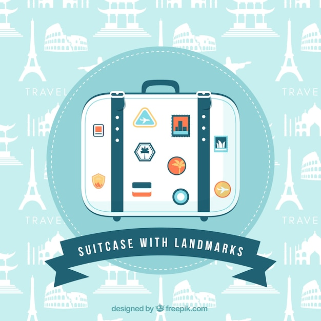 Suitcase with landmarks background in flat style Free Vector