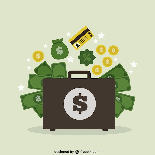 Suitcase with money Free Vector