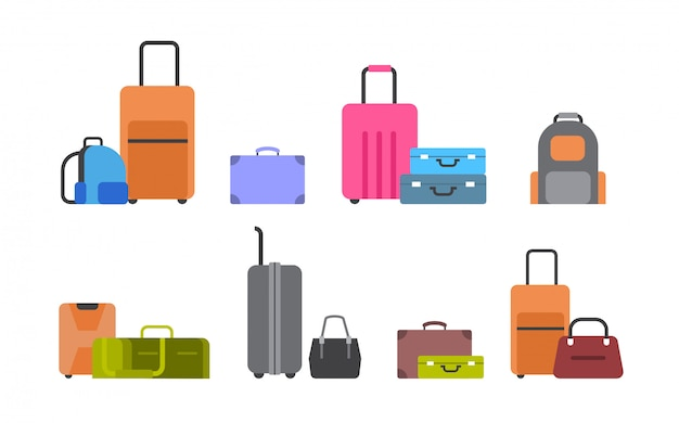 Suitcases, bags and backpacks Premium Vector