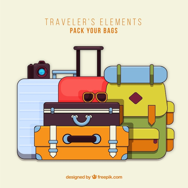 Suitcases collection Free Vector