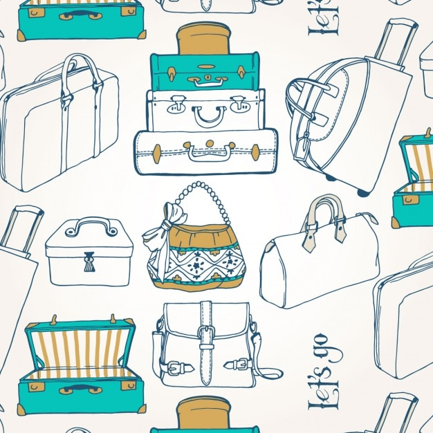 Suitcases pattern design Free Vector