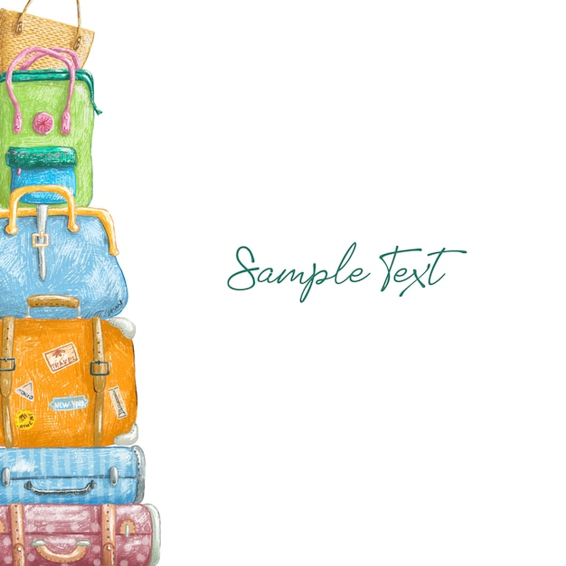 Suitcases pencil drowning border Premium Vector