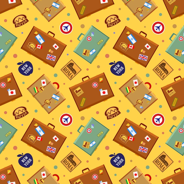 Suitcases seamless pattern. Premium Vector