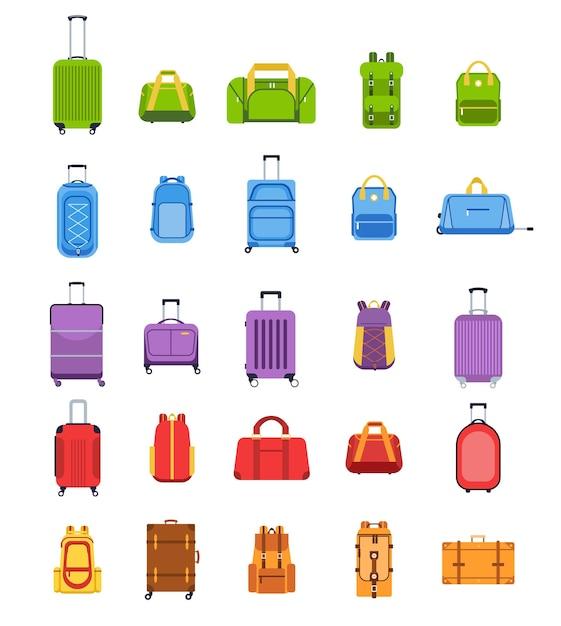 플랫 스타일로 설정된 가방 프리미엄 벡터