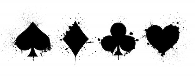 Suits deck of playing cards on background of splashing Premium Vector