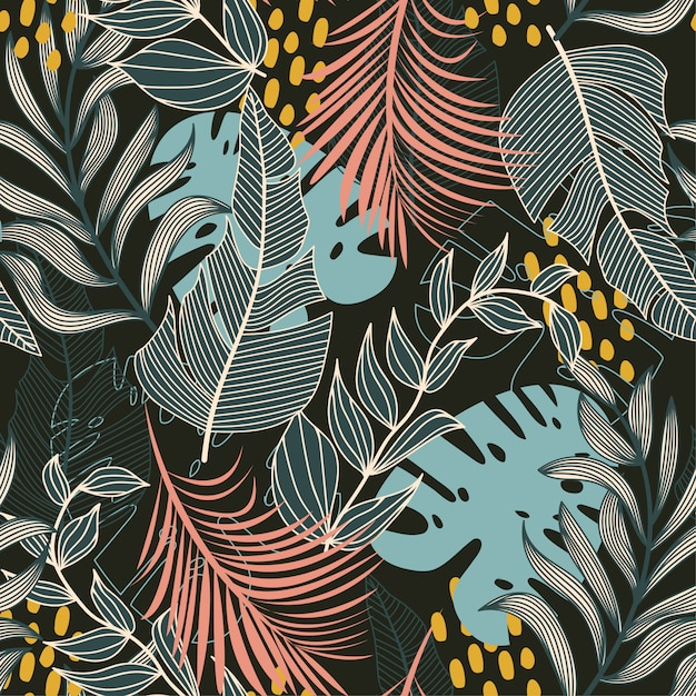 Summer abstract seamless pattern with colorful tropical leaves and plants on a dark Premium Vector