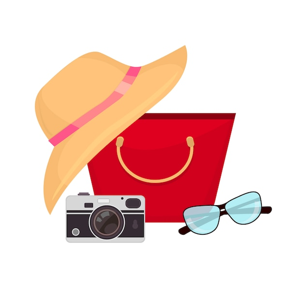 Summer accessories, swimsuit, sun glasses, bag and flip-flops. Premium Vector