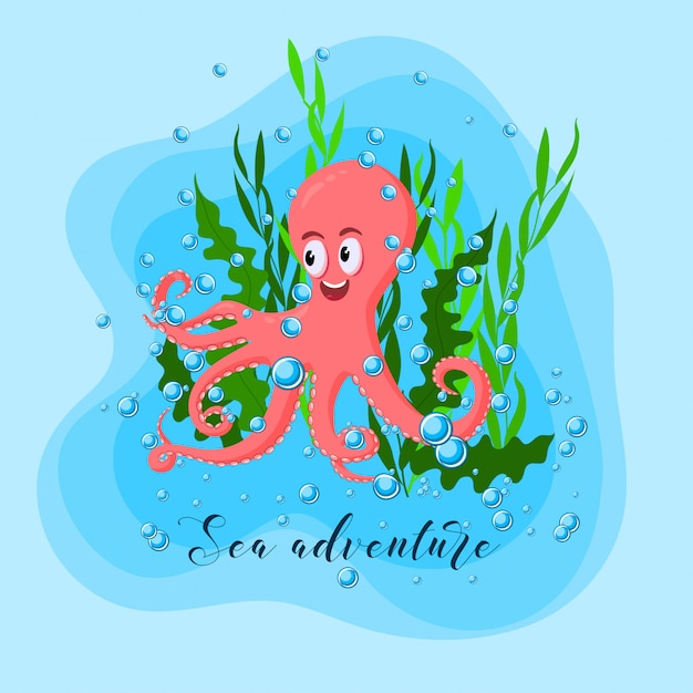 Summer adventure with cute octopus, sea weeds and water bubble in the blue ocean. Premium Vector