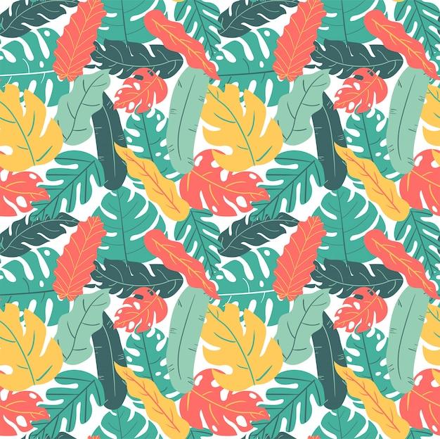 Лето и осень цвет тропических листьев рука рисунок рисунок бесшовные Premium векторы