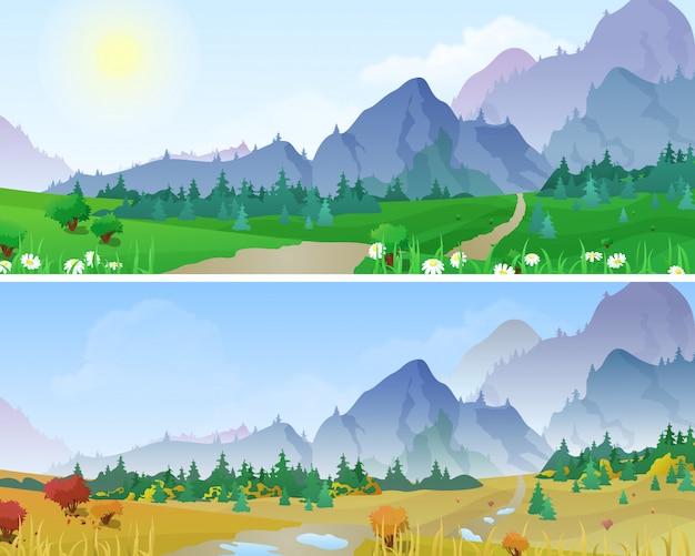 夏と秋の山の風景はベクトルイラストです。 無料ベクター