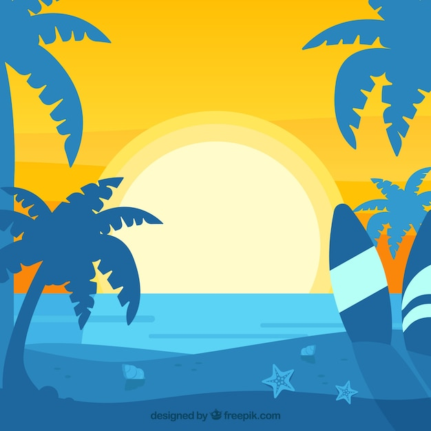 Summer backgroud with sunset and palm trees\ silhouette