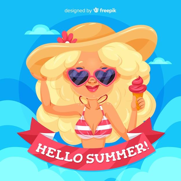 Summer background cartoon girl Free Vector