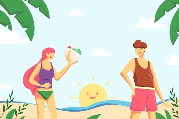 Disegno disegnato sfondo estate Vettore gratuito