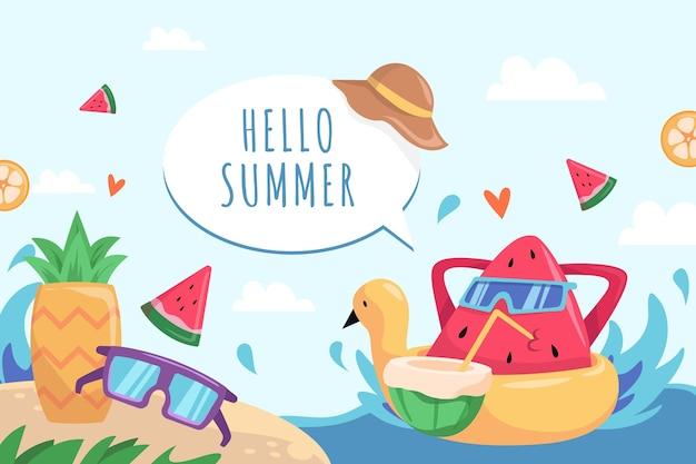 Tema disegnato sfondo estate Vettore gratuito