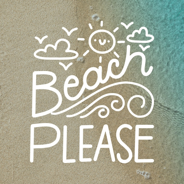 Summer background lettering with picture Free Vector