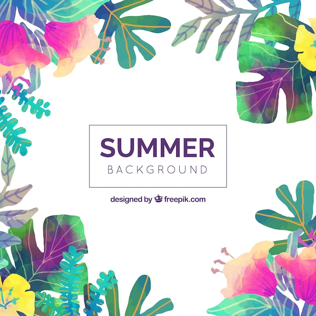 summer background of watercolor leaves vector free download