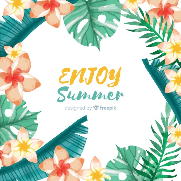 Summer background tropical plants frame Free Vector