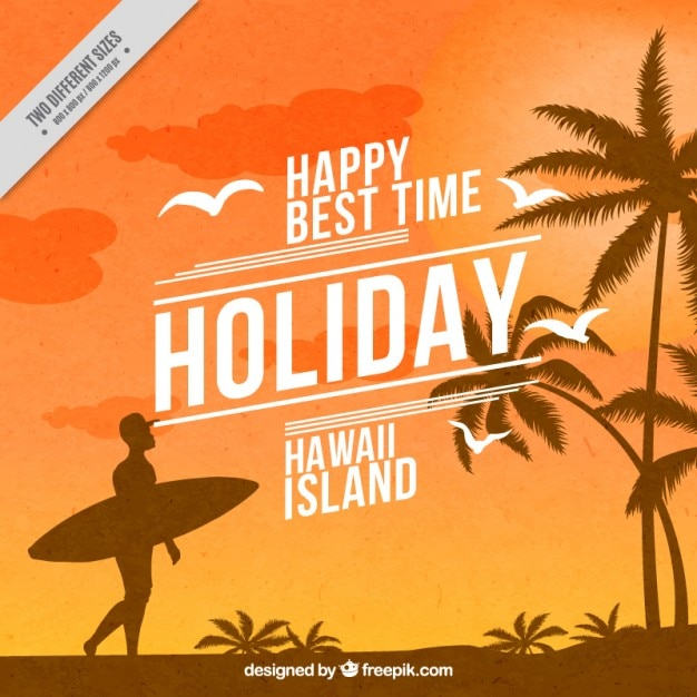 Summer background with a surfer and palm trees Free Vector