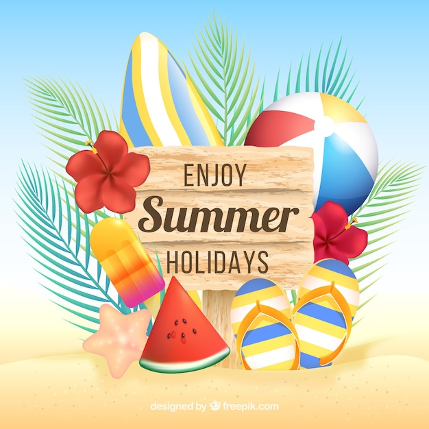 Summer background with beach elements Free Vector