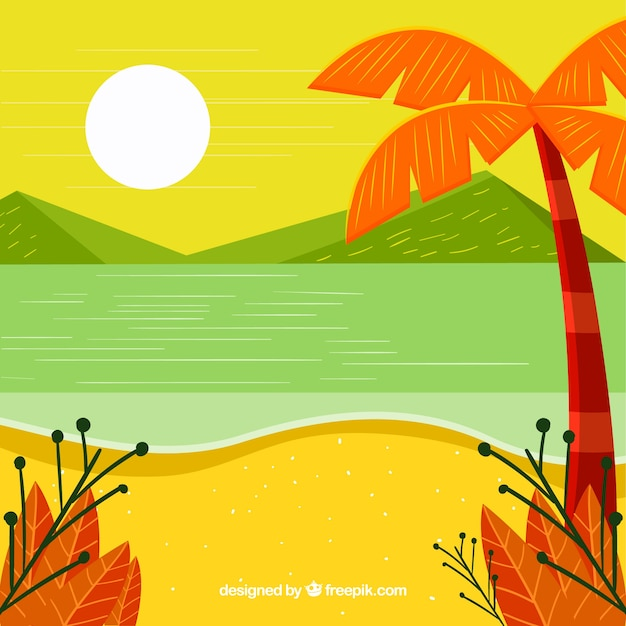 Summer background with beach landscape