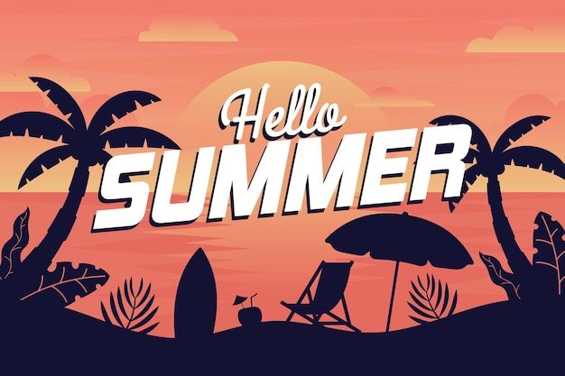Summer background with beach Free Vector