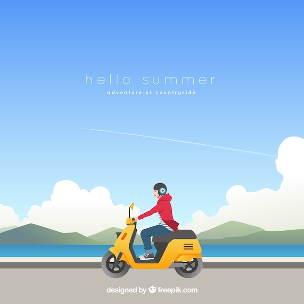 Summer background with boy on a motorcycle Free Vector