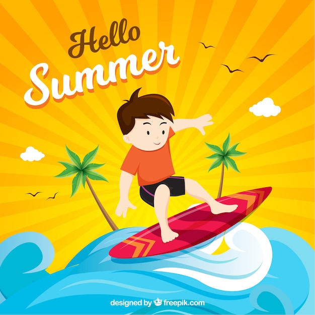 Summer background with boy surfing Free Vector