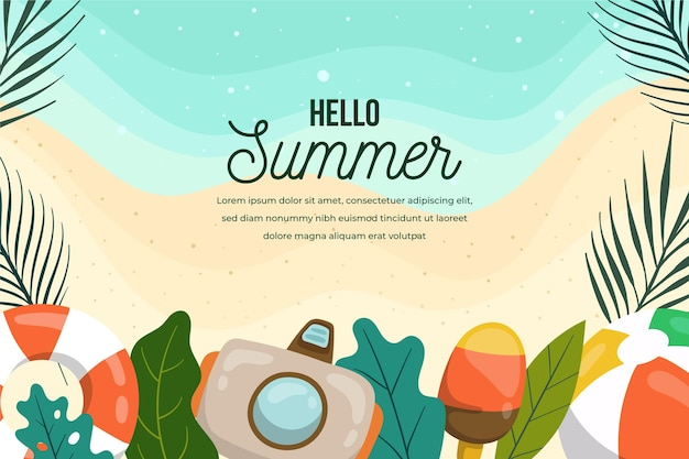 Summer background with camera and beach Free Vector