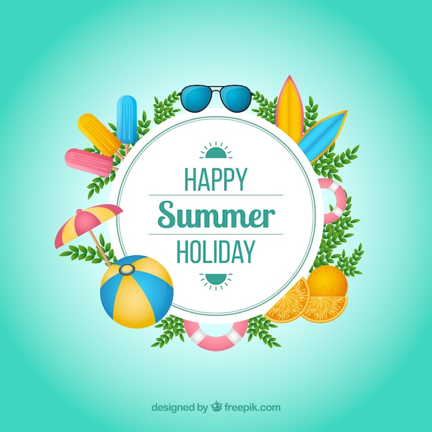 Summer background with colorful elements Free Vector