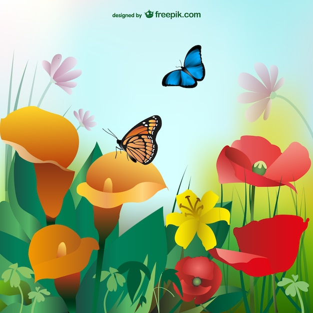 Summer background with colorful flowers and butterflies Free Vector