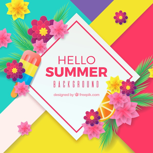Summer background with colorful flowers Free Vector