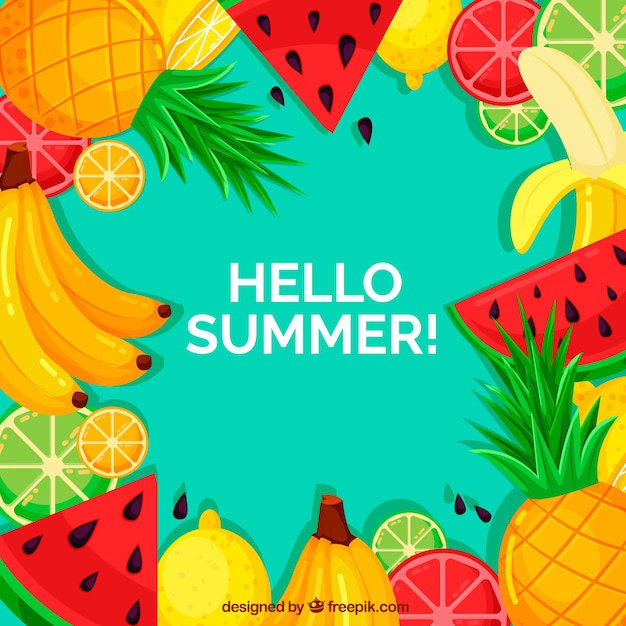 Summer background with colorful fruits Free Vector