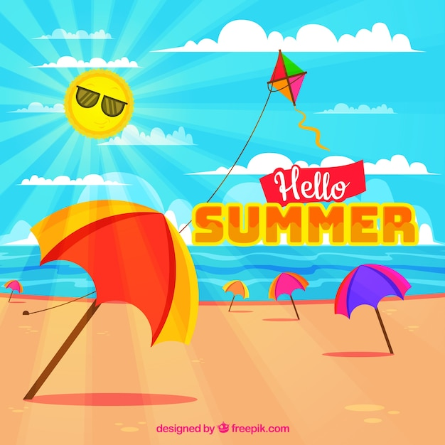 Summer background with colorful umbrellas in\ the beach