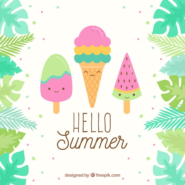 Melting Ice Cream Simple Wallpaper Designs: Summer Background With Cute Ice Creams Vector
