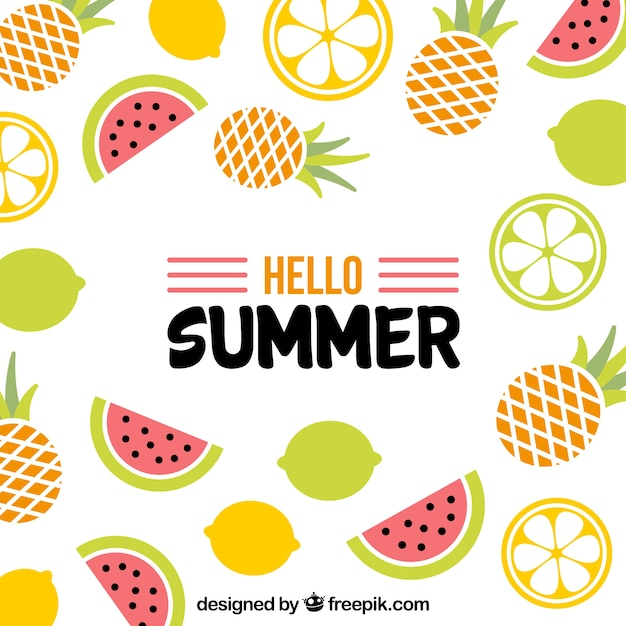 Summer background with delicious fruits in flat\ style