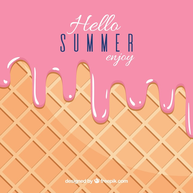 Summer background with delicious melted\ strawberry ice cream