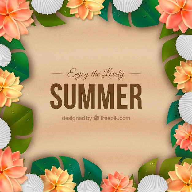 Summer background with exotic flowers