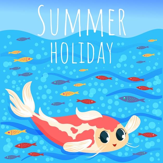 물고기와 바다 요소와 여름 배경 프리미엄 벡터