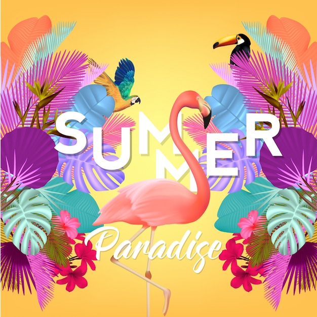 Summer background with flamingo and palm tree leaves Premium Vector